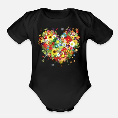 Colorful COLORFUL FLORAL HEART - Organic Short-Sleeved Baby Bodysuit