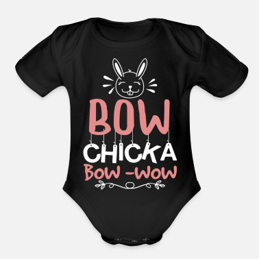 Bow Wow bow chicka bow wow - Organic Short-Sleeved Baby Bodysuit