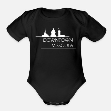 Downtown Missoula - White - Organic Short-Sleeved Baby Bodysuit