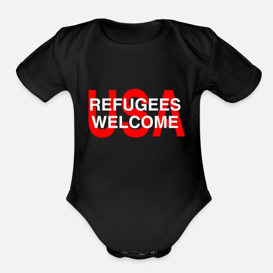 Funny Baby Clothing - Syrian Refugees Welcome - Organic Short-Sleeved Baby Bodysuit black