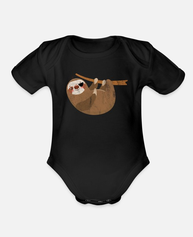 Mammal Baby One Pieces - ThreeToed Sloth Eye Patch Laziness Gift - Organic Short-Sleeved Baby Bodysuit black