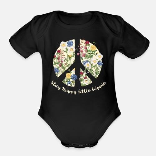 8c98ed3204fd Organic Short-Sleeved Baby BodysuitStay Trippy Little Hippie Peace Flower  Bee