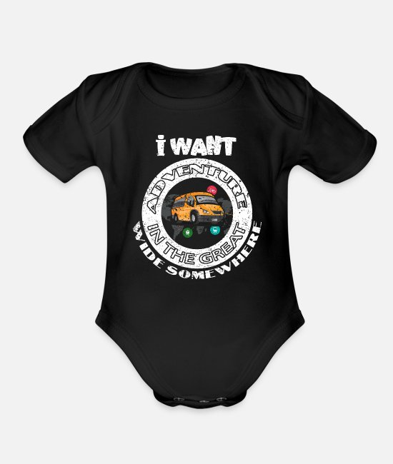 Travel Bug Baby One Pieces - Traveler - Organic Short-Sleeved Baby Bodysuit black