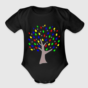 Memory Tree Primary Colors - Organic Short Sleeve Baby Bodysuit