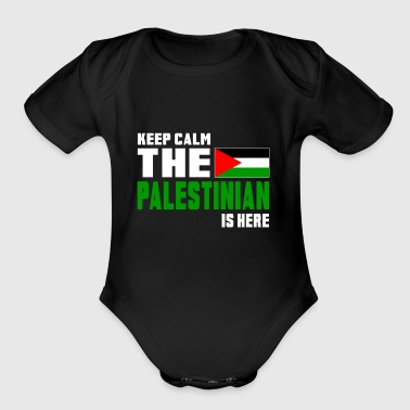 Keep calm the Palestinian - Organic Short Sleeve Baby Bodysuit