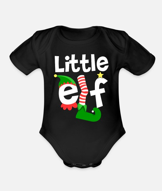Christmas Elf Baby One Pieces - Little Elf - Organic Short-Sleeved Baby Bodysuit black