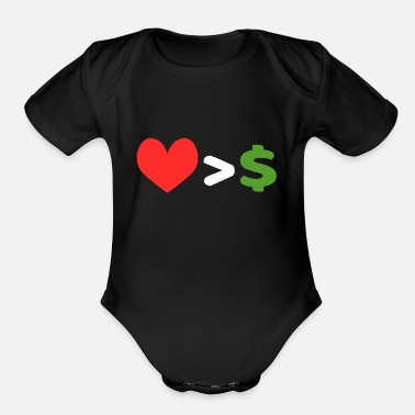 Emotion Love Over Money tee design. Perfect for career - Organic Short Sleeve Baby Bodysuit