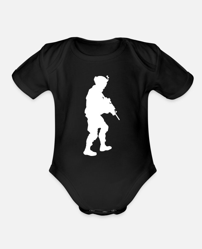 Usa Baby One Pieces - US Military American Soldier 4th July Veteran Gift - Organic Short-Sleeved Baby Bodysuit black