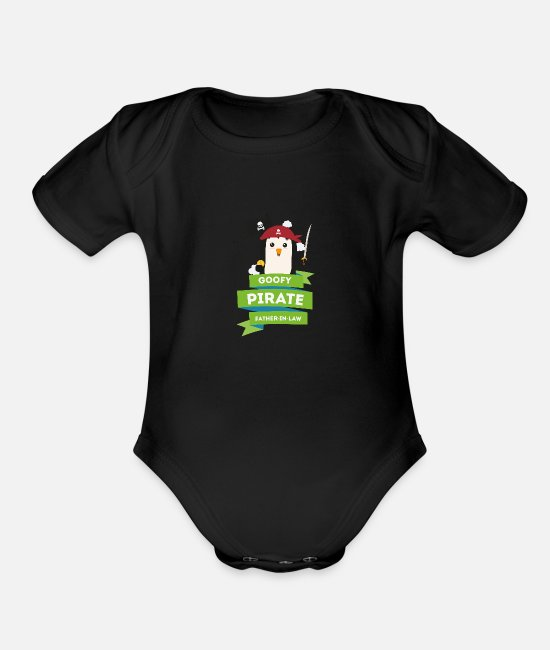Nature Baby One Pieces - goofy pirate father in law - Organic Short-Sleeved Baby Bodysuit black