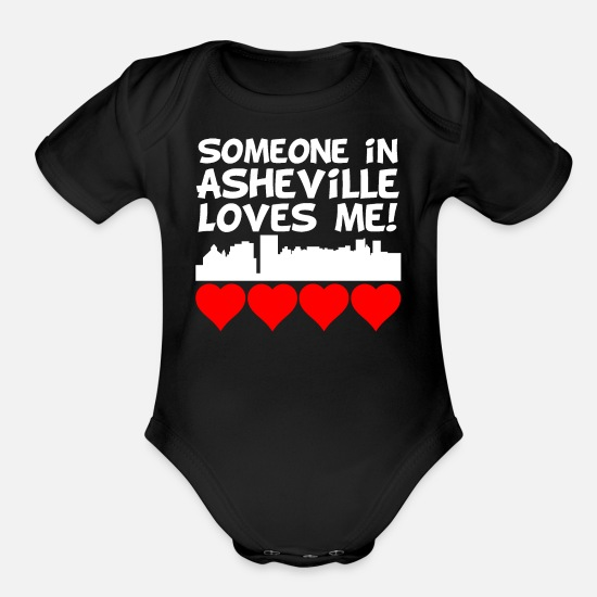 Asheville Baby Clothing - Someone In Asheville North Carolina Loves Me - Organic Short-Sleeved Baby Bodysuit black