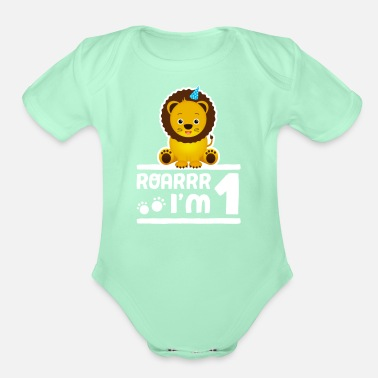 Party Cute 1st Birthday Lion Zoo Animal Boy Kid 1 Years - Organic Short-Sleeved Baby Bodysuit