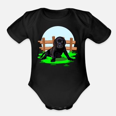 Cats Cute Labrador dog puppy - Organic Short-Sleeved Baby Bodysuit