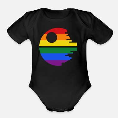 Death Stars Rainbow Death Star - Organic Short-Sleeved Baby Bodysuit