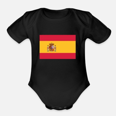 Hereditary National Flag Of Spain - Organic Short-Sleeved Baby Bodysuit