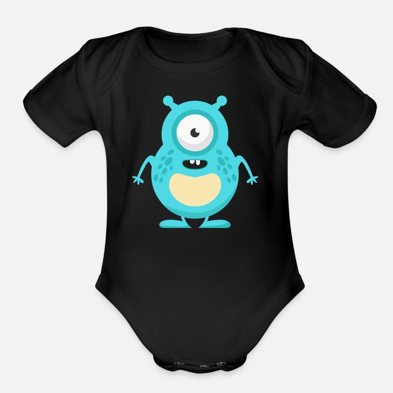 Monster Baby Clothing - Monster - Organic Short-Sleeved Baby Bodysuit black