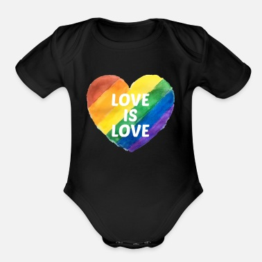 Pride Gay Pride Love is Love - Organic Short Sleeve Baby Bodysuit