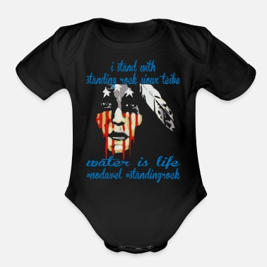 Stand STAND WITH STANDING ROCK NODAPL - Organic Short-Sleeved Baby Bodysuit