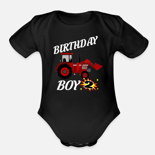 Short Sleeved Baby Bodysuit2 Years Old Birthday ShirtRed Tractor Gift