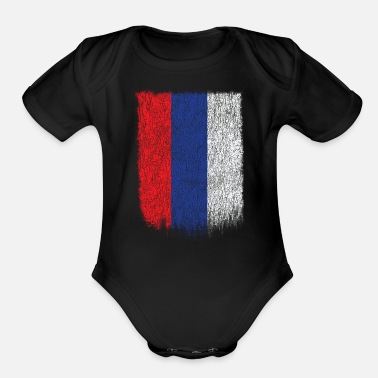 Womens Russian Flag Russian Flag Shirt Russia Flag T shirt Grunge Retro Design - Organic Short-Sleeved Baby Bodysuit