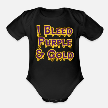 Gold I Bleed Purple and Gold for LSU - Organic Short-Sleeved Baby Bodysuit