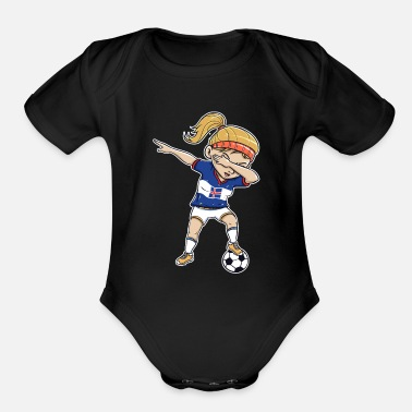 Soccer Player Dabbing Dabbing Soccer Player Funny Iceland Fan design - Organic Short-Sleeved Baby Bodysuit