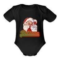 Fun Whimsical Santa Claus Believe Christmas   Organic Short Sleeve Baby  Bodysuit