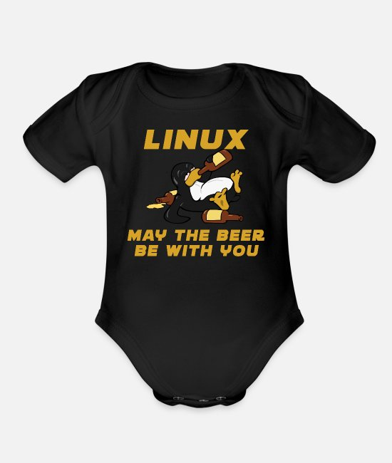Coder Baby One Pieces - Linux - Organic Short-Sleeved Baby Bodysuit black