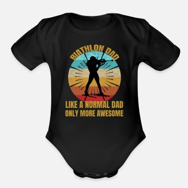 Biathlon Dad Awesome Biathlon Dad Gift | Biathlete Vintage - Organic Short-Sleeved Baby Bodysuit