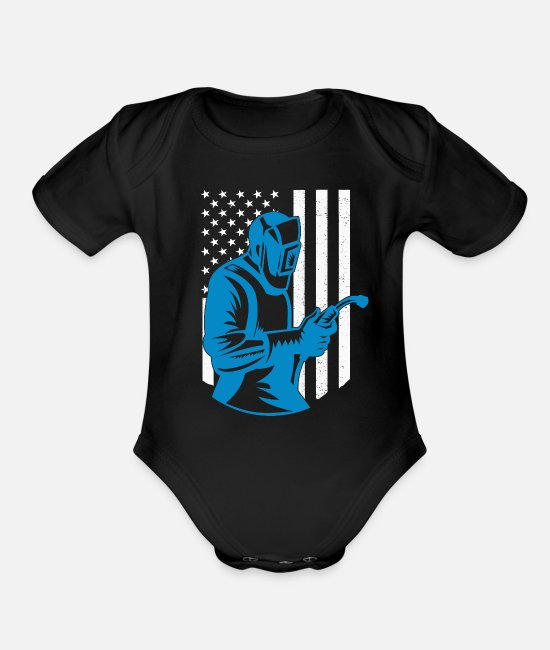 Usa Baby One Pieces - American Flag Welding Fabricator Gift for Welder - Organic Short-Sleeved Baby Bodysuit black