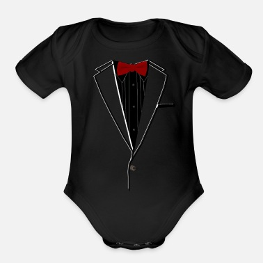 Wear Tuxedo Red Bowtie - Organic Short-Sleeved Baby Bodysuit