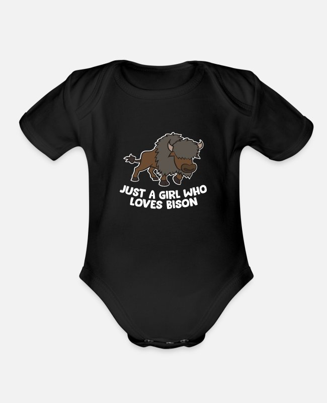 Mammal Baby One Pieces - Just a Girl Who Loves Bison Funny Bison Mom Gift - Organic Short-Sleeved Baby Bodysuit black