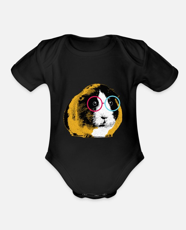 Pigs Baby One Pieces - Guinea Pig - Organic Short-Sleeved Baby Bodysuit black