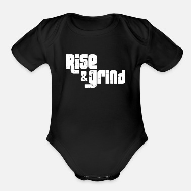 Movie Music Humour RISE & GRIND - Organic Short-Sleeved Baby Bodysuit