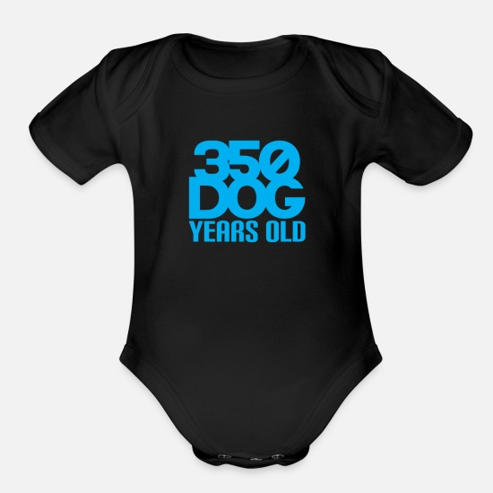 Nature Baby Clothing - 350 Dog Years Old Funny - Organic Short-Sleeved Baby Bodysuit black