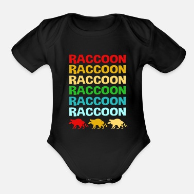Thief Raccoon Colorful Squad Team Trash Panda Racoon - Organic Short-Sleeved Baby Bodysuit