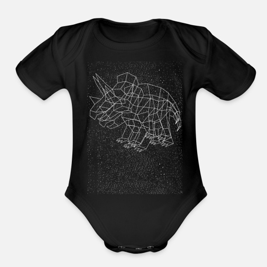 Art Baby Clothing - Triceratops Constellation - Organic Short-Sleeved Baby Bodysuit black