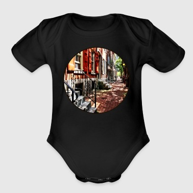 Philadelphia PA Street With Orange Shutters - Short Sleeve Baby Bodysuit