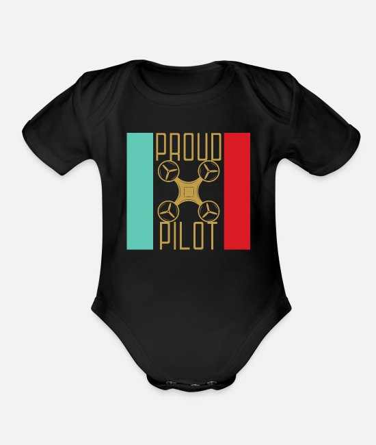 Pilot Baby One Pieces - Drone Propeller Pilot Gift Hexicopter - Organic Short-Sleeved Baby Bodysuit black