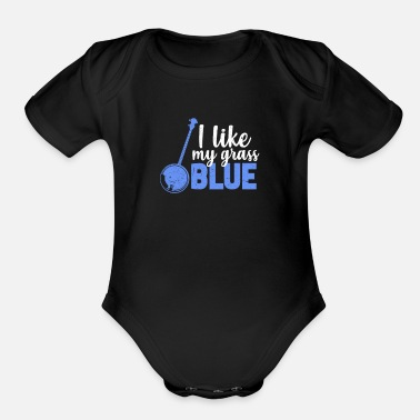 Countrymusic I Like My Grass Blue - Organic Short-Sleeved Baby Bodysuit
