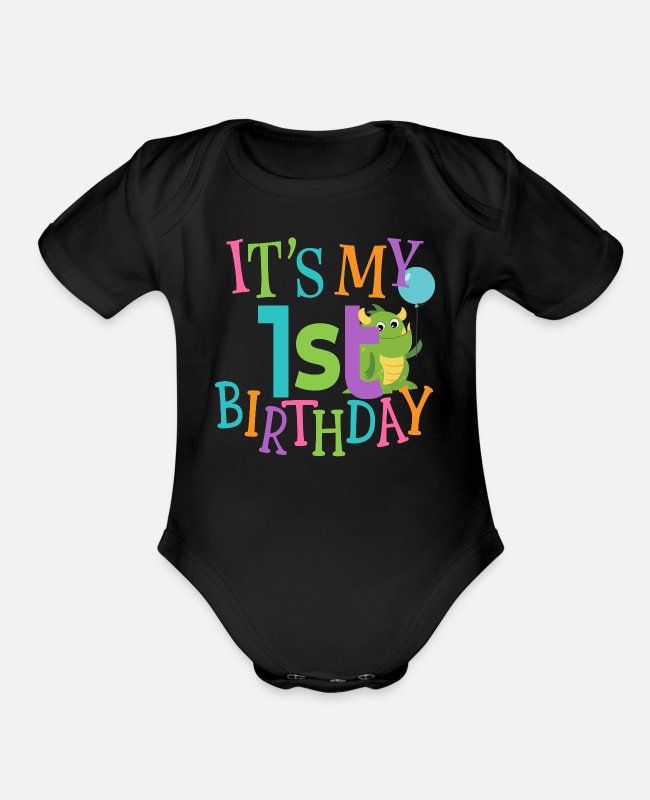 1 Baby One Pieces - 1st Birthday Party Babys First - Organic Short-Sleeved Baby Bodysuit black