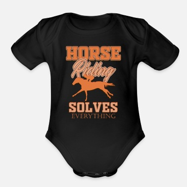 Horseman Horse horses riding riders equestrian gift idea - Organic Short Sleeve Baby Bodysuit