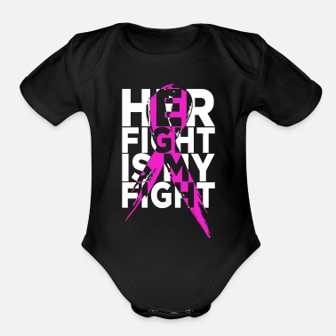 Breast Her fight is my fight Breast Cancer Awareness - Organic Short-Sleeved Baby Bodysuit