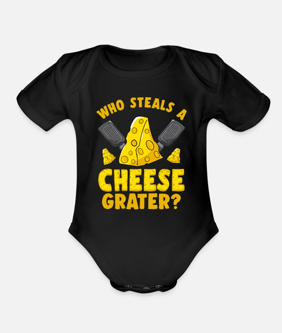 Cheddar Baby One Pieces - Cheese Lover Gouda Grater - Organic Short-Sleeved Baby Bodysuit black