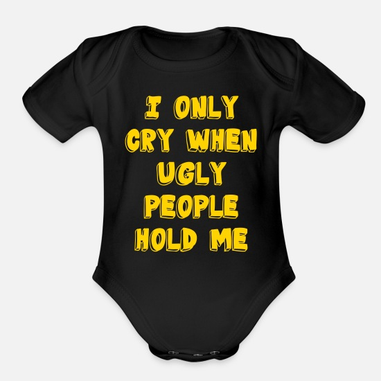 Funny Baby Clothing - Ugly People - Organic Short-Sleeved Baby Bodysuit black
