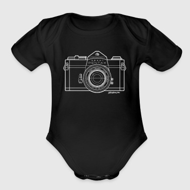 Asahi Pentax 35mm Vintage Camera Line Art (White) - Organic Short Sleeve Baby Bodysuit