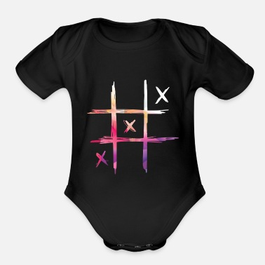 Color Pink Tic tac toe colored - Organic Short-Sleeved Baby Bodysuit