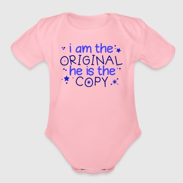 Twins Saying - Organic Short Sleeve Baby Bodysuit