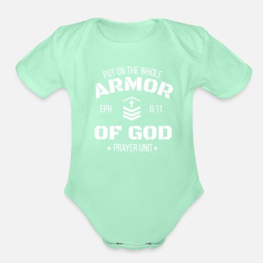 God Prayer Unit Christian Design - Organic Short-Sleeved Baby Bodysuit