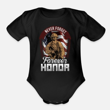 Wound Never Forget Forever Honor - Organic Short-Sleeved Baby Bodysuit