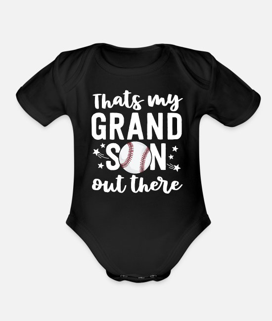 Grandpa Baby One Pieces - Grandpa Baseball Game Shirt That's My Grandson - Organic Short-Sleeved Baby Bodysuit black